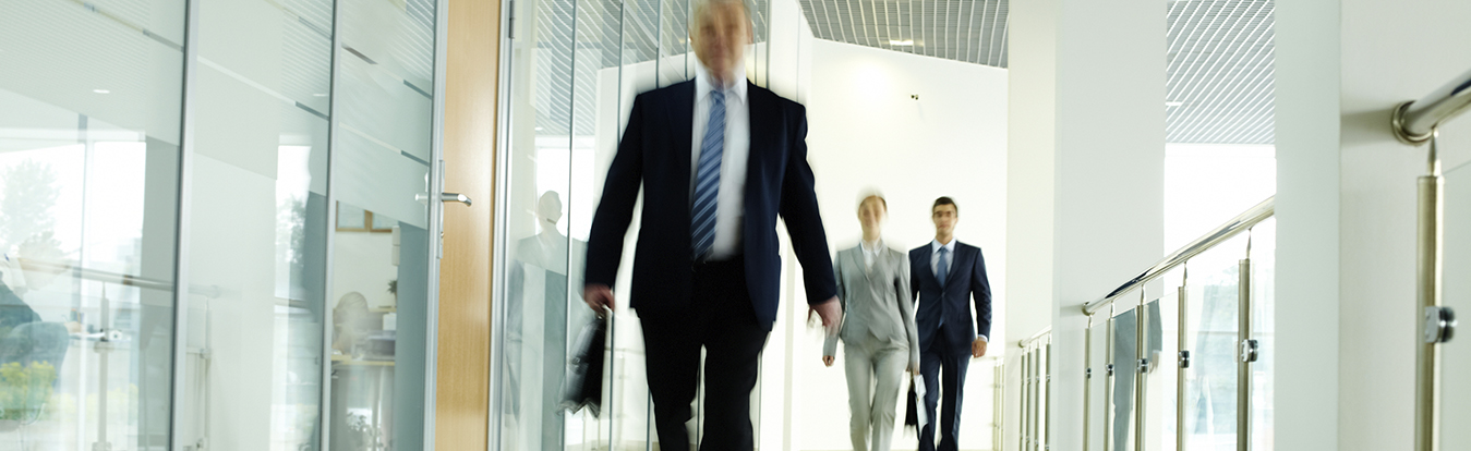Attorneys walking in a hallway