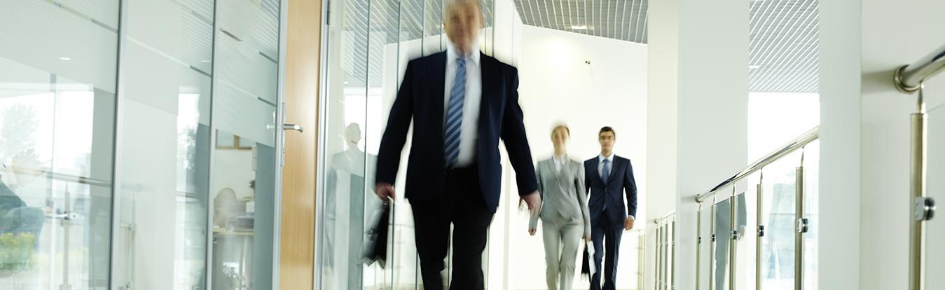 Attorneys walking in a hallway