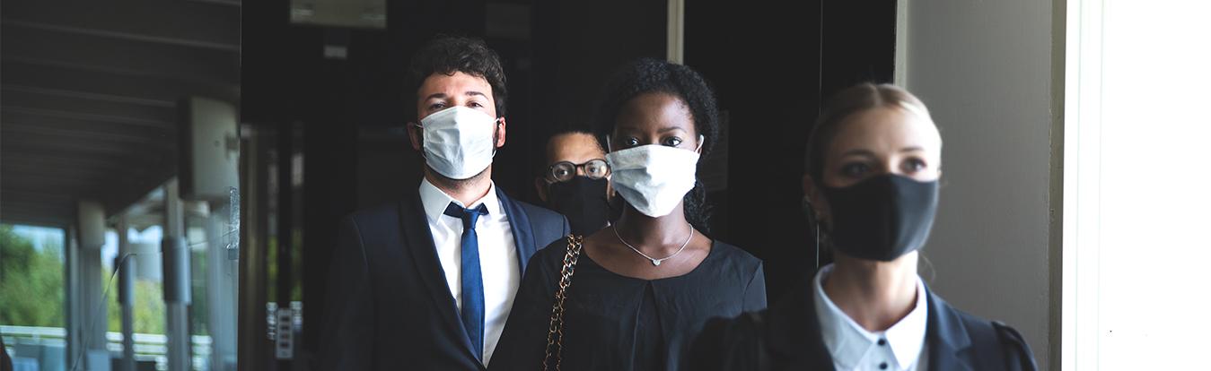 Three masked attorneys
