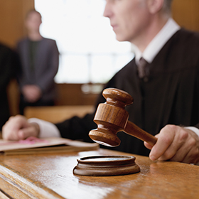 A judge with gavel