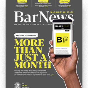 Cover of the February 2021 Bar News